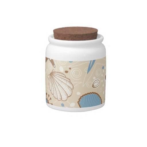 Sand and Blue Sea Shells Pattern Candy Dishes