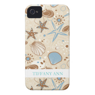 Sand and Blue Sea Shells Pattern Case-Mate iPhone 4 Cases