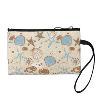 Sand and Blue Sea Shells Pattern Change Purse