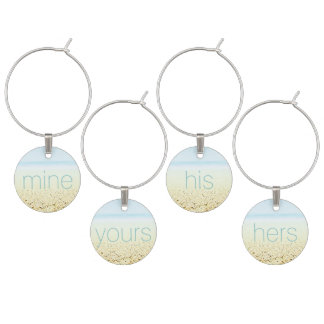SAND AND SEA 'His Hers Mine Yours' Wine Glass Charm