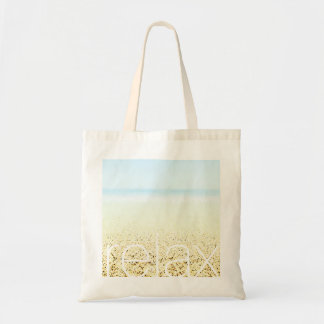 SAND AND SEA 'Relax' Serene Summer Seascape Tote Bag