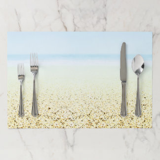 SAND AND SEA Serene Summer Seascape Paper Placemat