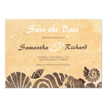Beach Themed Sand and Sea Shells/Beach Wedding-Save the Date Card