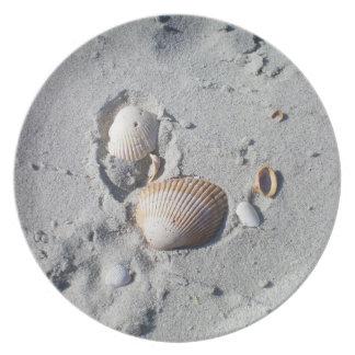 Sand and Seashells Melamine Plate