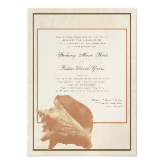 Sand and Shell Ocean Shore Wedding Card