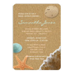 Sand and Shells Beach Bridal Shower 4.5x6.25 Paper Invitation Card