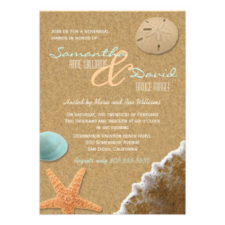 Sand and Shells Beach Rehearsal Dinner Invite