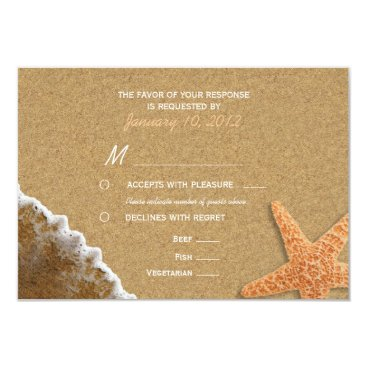 Beach Themed Sand and Shells Beach RSVP with Meal Options Card