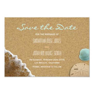Beach Themed Sand and Shells Beach Save the Date Card