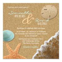 Sand and Shells Beach Square Wedding Invitation