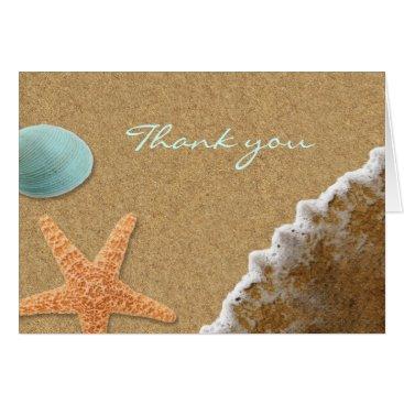 Beach Themed Sand and Shells Beach Thank You Card