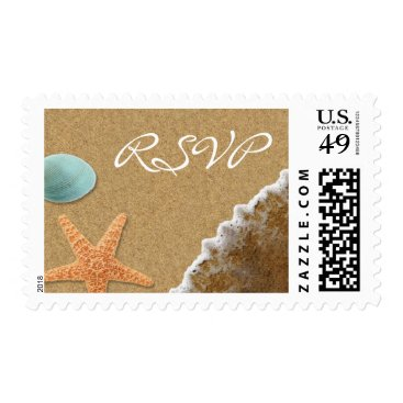 Beach Themed Sand and Shells Beach Theme RSVP Postage