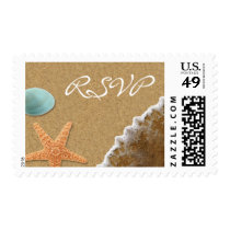 Sand and Shells Beach Theme RSVP Postage Stamps