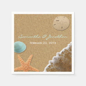 Sand and Shells Beach Theme Wedding Paper Napkin