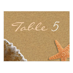 Sand And Shells Beach Theme Wedding Table Number Postcard at Zazzle
