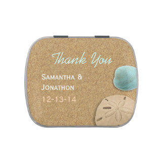 Sand and Shells Beach Theme Wedding Thank You Candy Tin