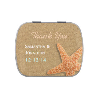 Sand and Shells Beach Theme Wedding Thank You Jelly Belly Tins