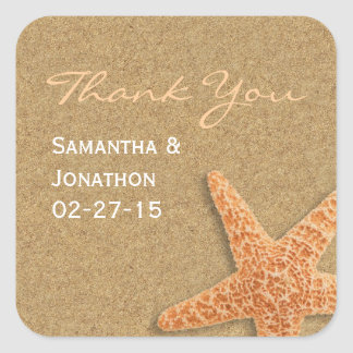 Sand and Shells Beach Theme Wedding Thank You Square Sticker