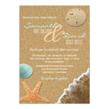 Beach Themed Sand and Shells Beach Wedding Invitation