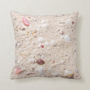 Beach Themed Sand And Shells Throw Pillow