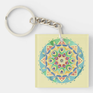 Sand and Silk Mandala Monogram Keychain