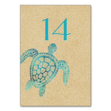 Beach Themed Sand and Turtle Wedding Table Number Card