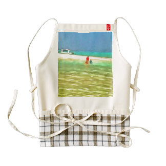 Sand and water at beach zazzle HEART apron