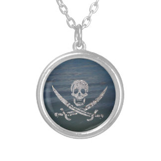 Sand and Water Calico Jack Jolly Roger Silver Plated Necklace