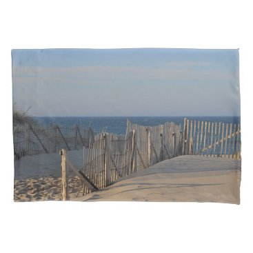 Sand and weathered beach fence pillowcase