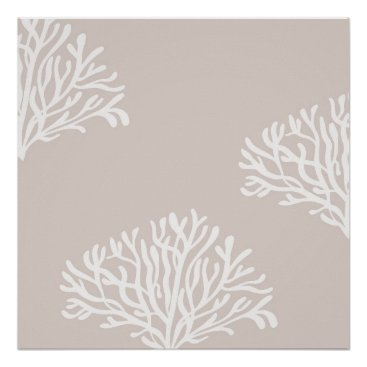Beach Themed Sand and White Coral Poster