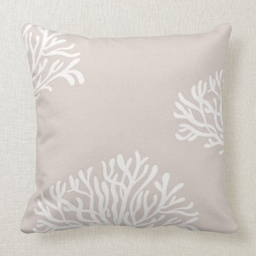 Beach Themed Sand and White Coral Throw Pillow