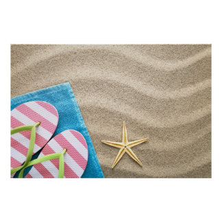 Sand Background With Towel Flip Flops And Starfish Print