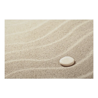 Sand Background With White Stone Poster