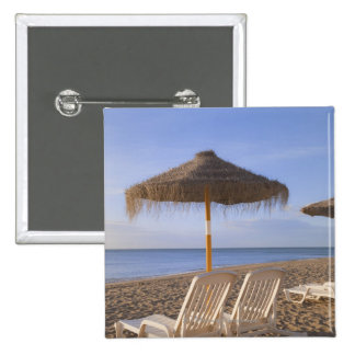 Sand Beach Chairs with Umbrella Pinback Button