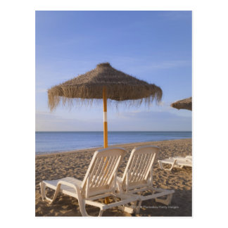 Sand Beach Chairs with Umbrella Postcard