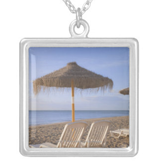Sand Beach Chairs with Umbrella Silver Plated Necklace