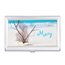 Sand Beach Ocean Monogram Case For Business Cards