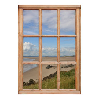 Sand Beach, Sea, and Sky View from a Window Poster
