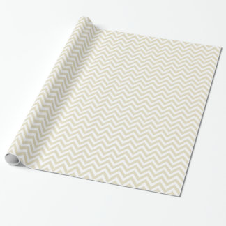 Sand Beige and White Large Chevron Pattern V Wrapping Paper