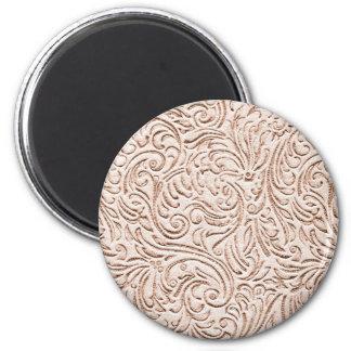 Sand Beige Color Vintage Tin Tile Look 2 Inch Round Magnet