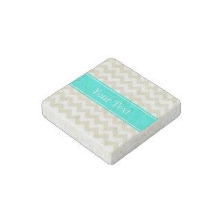 Sand Beige White Chevron Bright Aqua Name Monogram Stone Magnet