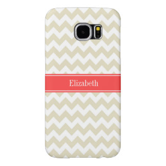 Sand Beige White Chevron Coral Red Name Monogram Samsung Galaxy S6 Case