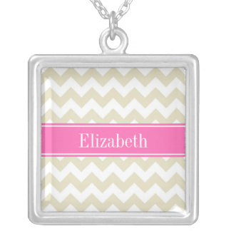 Sand Beige White Chevron Hot Pink #2 Name Monogram Square Pendant Necklace