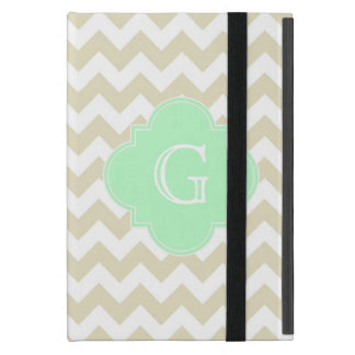 Sand Beige White Chevron Mint Quatrefoil Monogram Case For iPad Mini