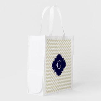Sand Beige White Chevron Navy Quatrefoil Monogram Grocery Bags