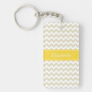 Sand Beige White Chevron Pineapple Name Monogram Keychain
