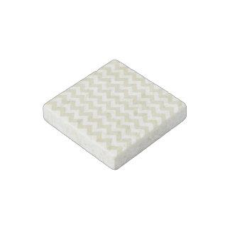 Sand Beige White Chevron Zig-Zag Pattern Stone Magnet