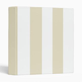 Sand Beige White Huge Stripes Binders