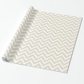 Sand Beige White Large Chevron ZigZag Pattern Wrapping Paper
