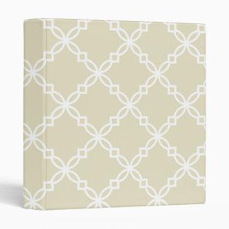 Sand Beige White Large Fancy Quatrefoil Pattern 3 Ring Binders